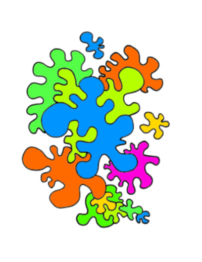 "Study the 'Big Blue Wiggle Shape' that is ""in front'.Now see the light green wiggle shape 'behind' it. Each shape is placed behind the the one in front."