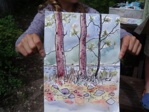 draw with principals, draw outside, what to teach 4 to 9 year olds to draw outside,
