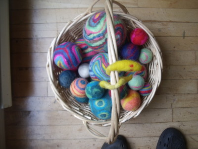 Felt balls using recycled materials. An easy project for all ages.