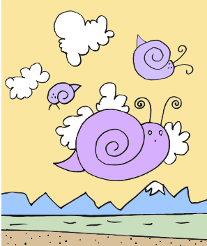Snails Sailing with the Three lines and a cloud or two.
