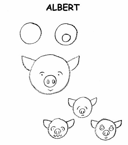 draw a cute pig, easy drawing of pig, 3 to 5 year old drawing,