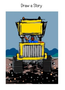 Draw a big digger truck ages 4 to 9