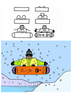 How to draw a snowboarder