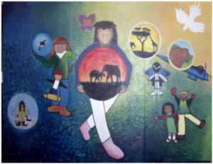 Nelson Christian Community School Mural of Hope and Dreams. 2013 / !2 feet by 8feet.
