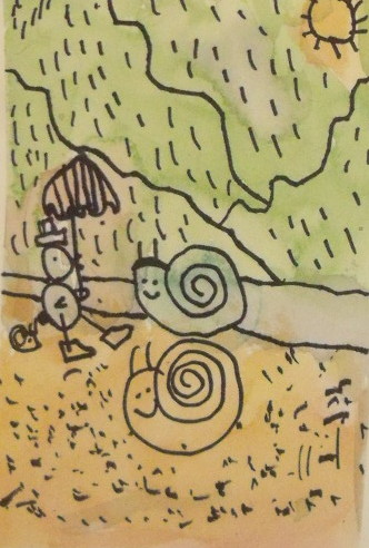 Draw umbrella, drawing for ages 3 to 5,