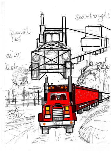 Draw semi trailer truck