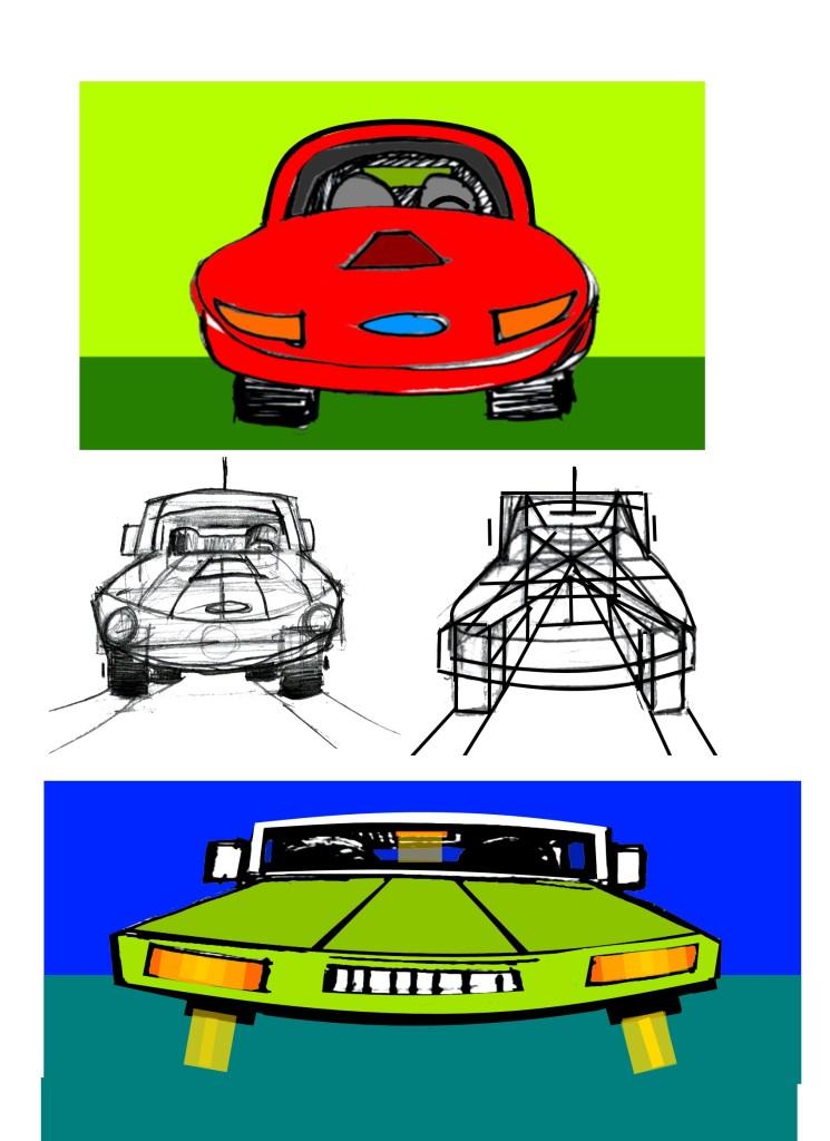 Draw 3-d cars